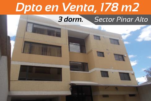 Amplio dpto, 178 m2, 3 dorm, Sector Pinar Alto